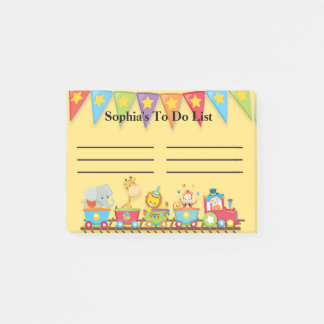 Colorful Circus Train on Yellow Child's To Do List Post-it Notes