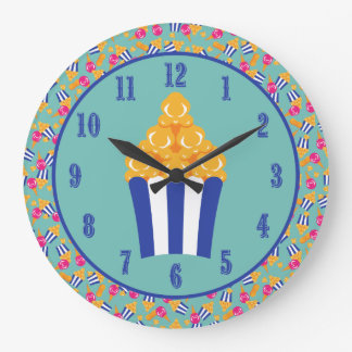 Colorful Circus Treats Ice Cream Peanuts Popcorn Large Clock