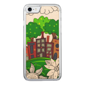 Colorful Cityscape Illustration Carved iPhone 8/7 Case