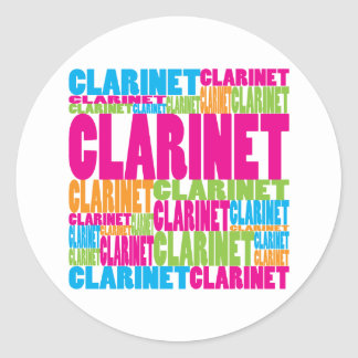 Colorful Clarinet Classic Round Sticker