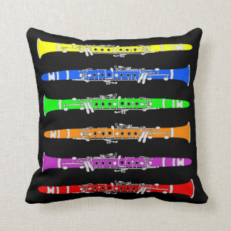 Colorful Clarinets Throw Pillow