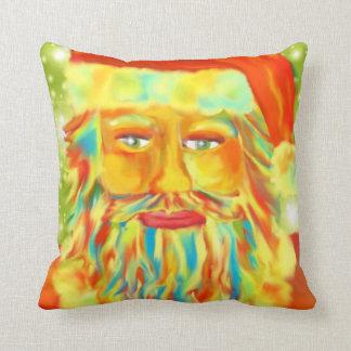 """Colorful Claus"" Santa Art Throw Pillow"