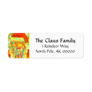 """Colorful Claus"" Santa Return Address Label"
