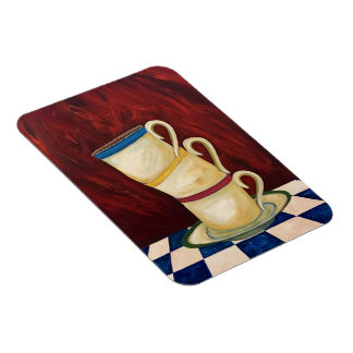 """Colorful Coffee Cups on Red Art Magnet 3""""x4"""""""