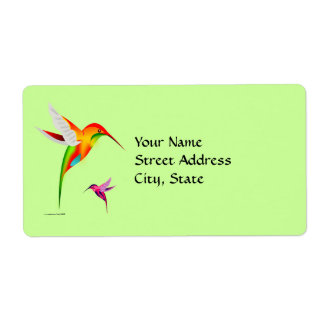 Colorful Colibri Birds Shipping Label