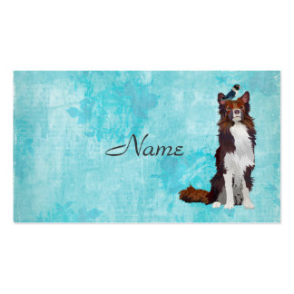 COLORFUL COLLIE & BLUE BIRD  Business Card