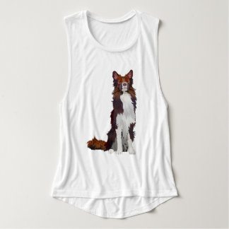 COLORFUL COLLIE FLOWY MUSCLE TANK TOP
