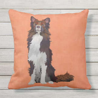 COLORFUL COLLIE THROW PILLOW