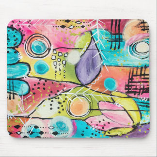 Colorful Color Block Abstract Blue Purple Lime Fun Mouse Pad