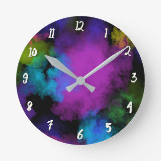 Colorful Color Puff Makeup Beauty Girls Girly Round Clock