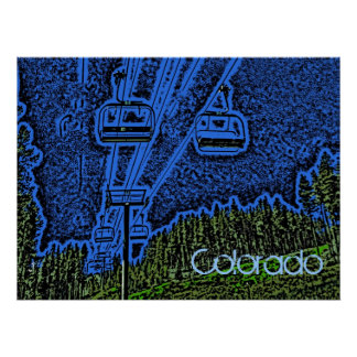 Colorful Colorado ski lift poster
