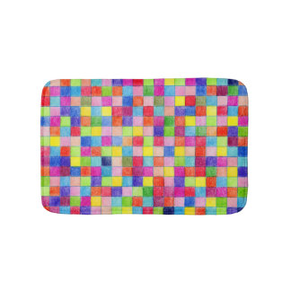 Colorful Colored In Graph Paper Squares Bathroom Mat