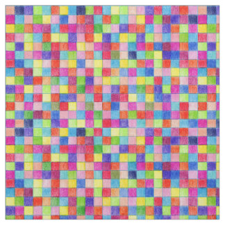 Colorful Colored In Graph Paper Squares Fabric