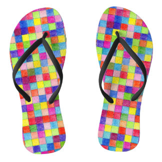 Colorful Colored In Graph Paper Squares Flip Flops