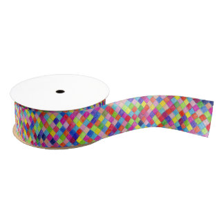 Colorful Colored In Graph Paper Squares Grosgrain Ribbon