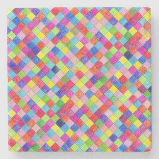 Colorful Colored In Graph Paper Squares Stone Coaster