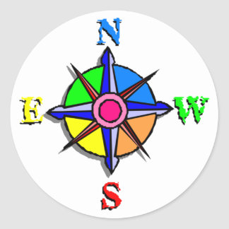 Colorful Compass Rose Classic Round Sticker
