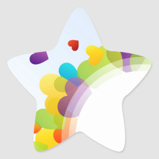 colorful composition of hearts star sticker