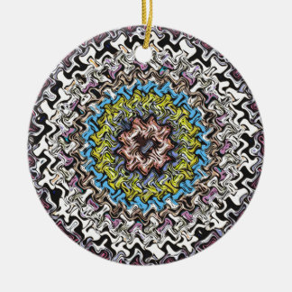 Colorful Concentric Chaos Ceramic Ornament