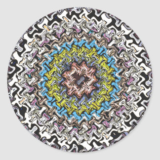 Colorful Concentric Chaos Classic Round Sticker