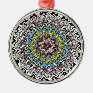 Colorful Concentric Chaos Metal Ornament