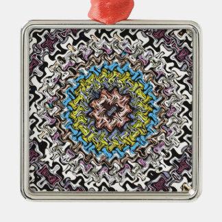 Colorful Concentric Chaos Silver-Colored Square Ornament