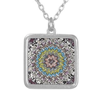 Colorful Concentric Chaos Silver Plated Necklace