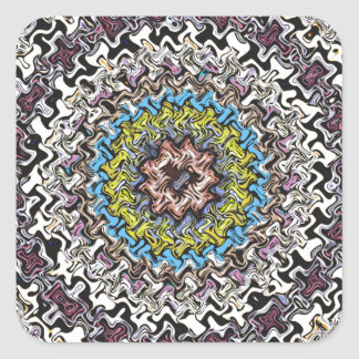 Colorful Concentric Chaos Square Sticker