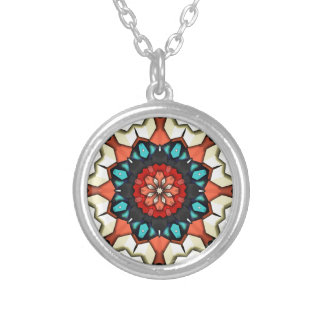 Colorful Concentric Cubes Silver Plated Necklace