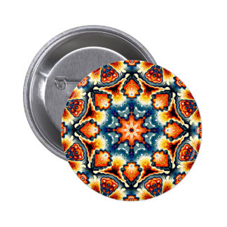 Colorful Concentric Motif 2 Inch Round Button