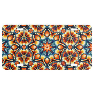 Colorful Concentric Motif License Plate