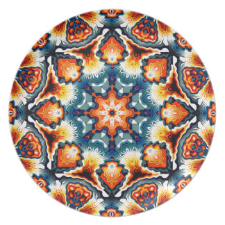 Colorful Concentric Motif Party Plate