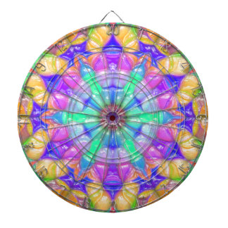 Colorful Concentric Reflections Dartboard With Darts