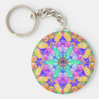 Colorful Concentric Reflections Keychain