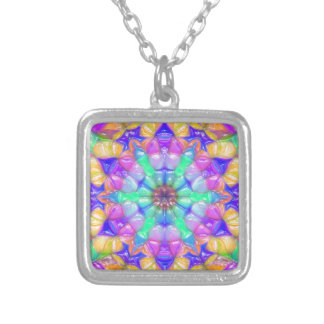 Colorful Concentric Reflections Silver Plated Necklace