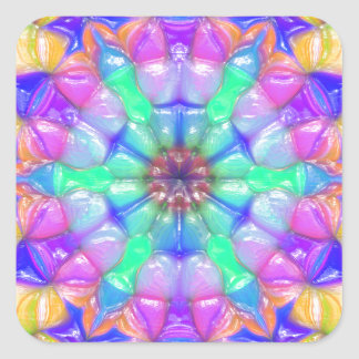 Colorful Concentric Reflections Square Sticker