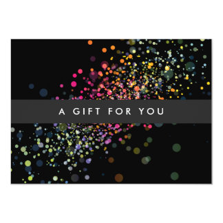 Colorful Confetti Bokeh on Black Gift Certificate Card