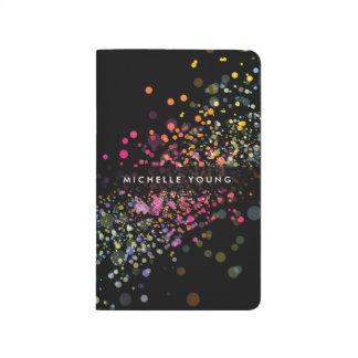 Colorful Confetti Bokeh on Black Modern II Journal