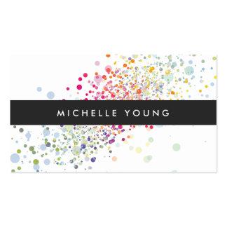 Colorful Confetti Bokeh on White Modern Business Card