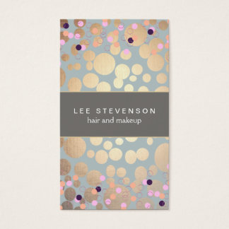 Colorful Confetti & Gold Chic Modern Beauty Salon Business Card