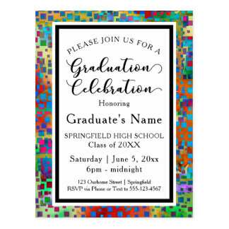 Colorful Confetti Graduation Party Invitation Postcard