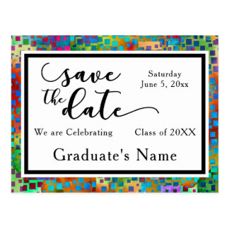 Colorful Confetti Graphic Graduation Save the Date Postcard