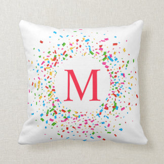 Colorful Confetti Monogram Wedding | Throw Pillow