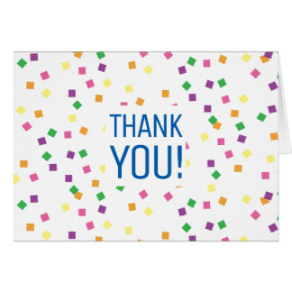 Colorful Confetti Squares Thank You Card