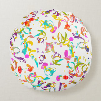 Colorful Confetti Toss Artwork Round Pillow