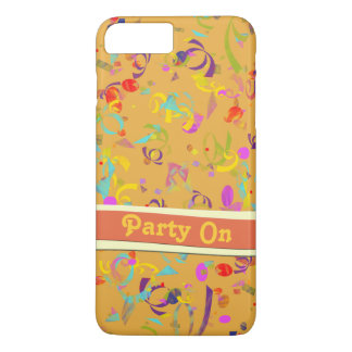 Colorful Confetti Toss Background Over Orange iPhone 8 Plus/7 Plus Case