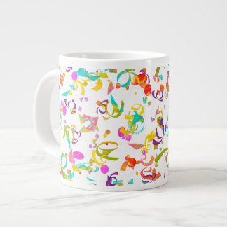 Colorful Confetti Toss Background Over White Large Coffee Mug