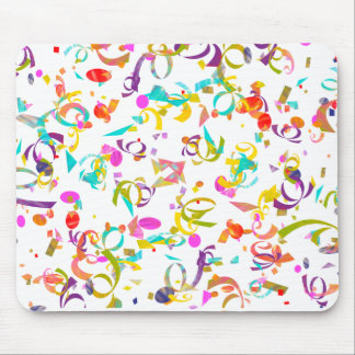 Colorful Confetti Toss Over A White Background Mouse Pad