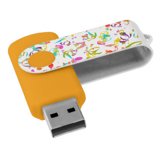 Colorful Confetti Toss Swivel USB 2.0 Flash Drive