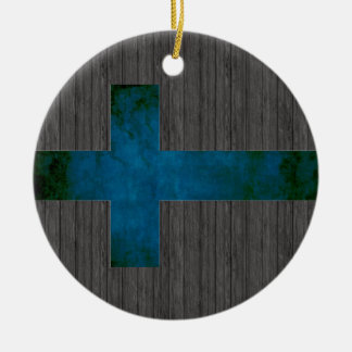 Colorful Contrast Finnish Flag Ceramic Ornament